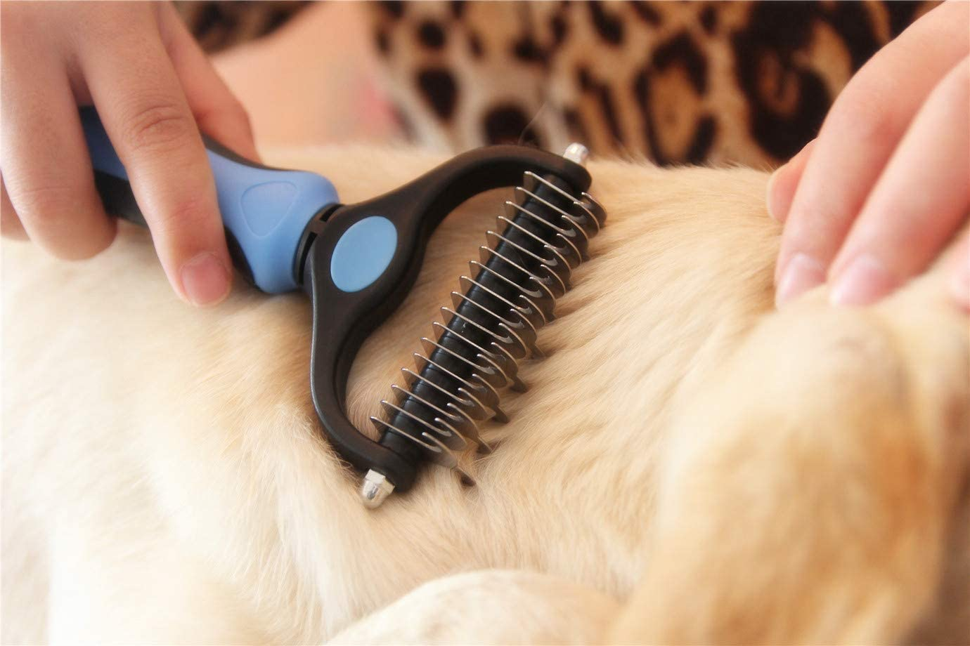 Double sided dematting and deshedding tool for goldendoodles and golden retrievers